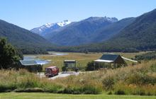 Cameron Flat Campsite . Makarora area and Mount Aspiring National Park
