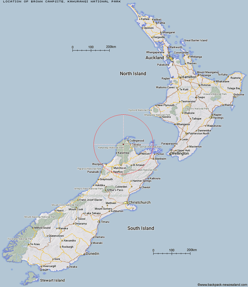 Brown Campsite Map New Zealand