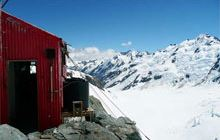 Tasman Saddle Hut . Aoraki/Mount Cook National Park