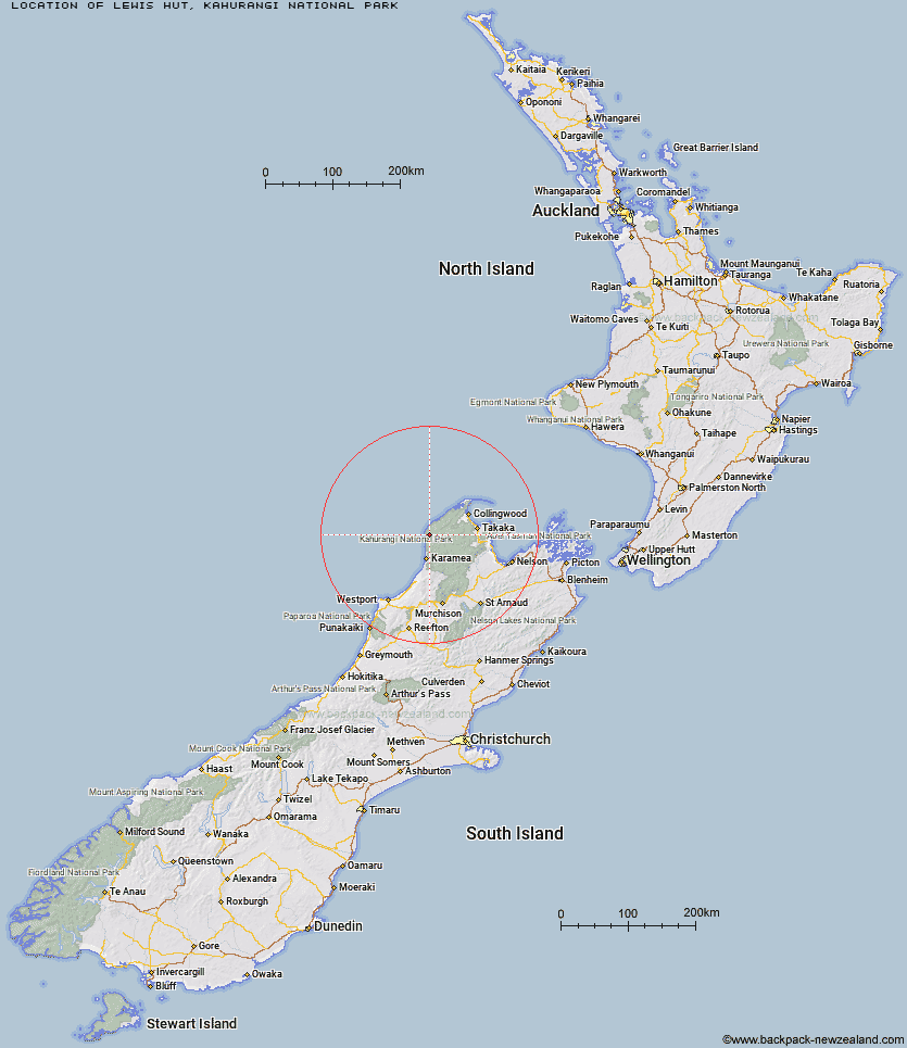 Lewis Hut Map New Zealand